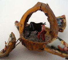 Antique Miniature Walnut Shell Figural Folk Art Bull Fight Scene probably made in 1900 each hinged corner has a figure in it | eBay