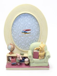 Classic Winnie Pooh Michel & Company Pooh's Library Picture Frame Pooh Piglet #Disney
