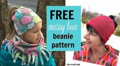 How to make a messy bun beanie. Free messy bun beanie sewing pattern with video tutorial.