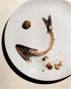Irving Penn, Fish Bones in a Playe (a frugal lunch), editorial photograph for Vogue, New York, October 21, 1993. JeY.H's