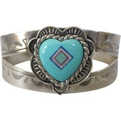 Signed Carolyn Pollack Relios Sterling Turquoise Gemstone Heart Cuff Bracelet, Southwestern