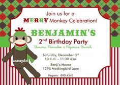 Sock Monkey Christmas Holiday Printable Birthday Party Invitation