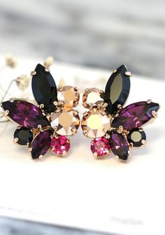 Swarovski Crystal Purple Black Earrings