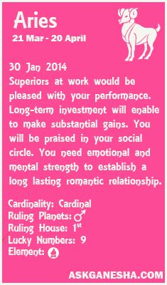 Aries Daily horoscope for 30th January 2014.