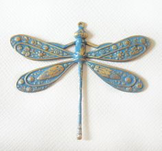 1 Large Fancy Brass Dragonfly Pendant in Tropical by MissLindy