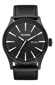 Nixon 'The Sentry' Leather Strap Watch, 42mm | Nordstrom