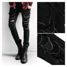 Online Shop Hi-Street Hi-Fashion men's trousers punk hole biker... ❤ liked on Polyvore featuring men's fashion, men's clothing, men's jeans, mens biker jeans, mens flare jeans, mens jeans and mens flared jeans