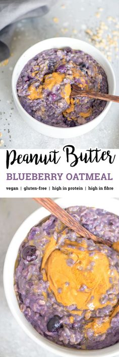 This delicious creamy peanut butter banana blueberry oatmeal is vegan gluten-free refined sugar-free and easy to make in minutes on the stovetop. It's high in fibre and protein contains healthy fats and is loaded with nutrition. Try it for a quick and The Oatmeal, Vegan Oatmeal, Blueberry Oatmeal, Peanut Butter Oatmeal, Healthy Peanut Butter, Oatmeal Flour, Protein Oatmeal, Banana Oats, Quick Vegan Breakfast