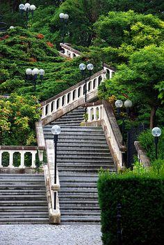 Melk Abbey gardens staircase in Lower Austria  Beautiful Austria  http://www.travelandtransitions.com/austria-travel/
