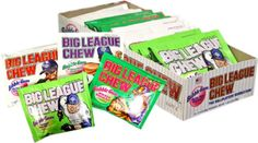 Big Leauge Chew Bubblegum - Ground Ball Grape Bubblegum. Big Leauge Chew is the ballplayer's Bubble Gum! 12- 2.12 oz pouches of Assorted flavors, including Ground ball Grape, Wild Pitch Watermelon, Outta' here Original and Swingin' Sour App