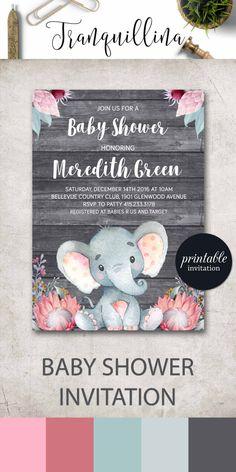Elephant baby shower invitation Girl Safari baby shower invitation printable, Girl Elephant Invitation Jungle Baby Shower Invitation Floral - pinned by pin4etsy.com