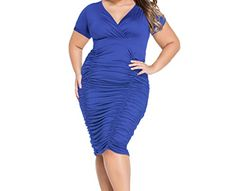 Christmas PEGGYNCO Womens Blue Pleated Curvaceous Midi Dress Size 3XL >>> Click image for more details.