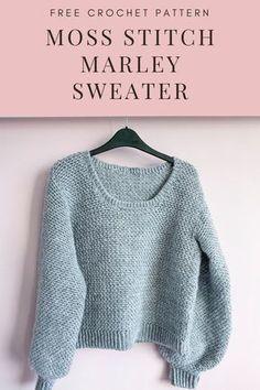 Crochet Jumper Pattern, Jumper Patterns, Diy Crochet Sweater, Crochet Jumpers, Easy Sweater Knitting Patterns, Crochet Top, Crochet Baby, Crochet Bikini, Marley Crochet