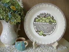 Vintage Apple Pie Plate Green Apple Pie by QueeniesVintageFinds