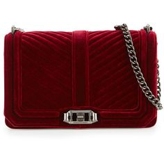 Rebecca Minkoff Love Quilted Velvet Crossbody Bag ($275) ❤ liked on Polyvore featuring bags, handbags, shoulder bags, velvet, soft berry, crossbody purses, rebecca minkoff purse, rebecca minkoff shoulder bag, quilted purses and red crossbody