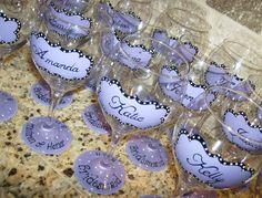 Bride Wedding Party Hand Painted Wine Glass. $18.00, via Etsy.    Idea 1