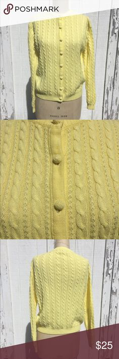 Vintage Knit Yellow Cardigan Sz L Vintage Dean's of Scotland acrylic Knit button up Cardigan. Says Sz L by more like a medium. In excellent condition- no tears, rips or stains. dean's of scotland Sweaters Cardigans