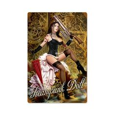 Steampunk Doll Vintage Metal Sign