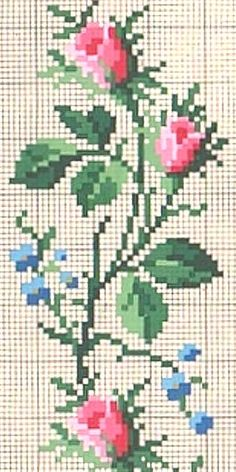 rose and forget-me-not cross stitch border