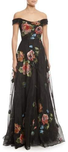 Beautiful Off-the-Shoulder Embroidered Silk Organza Ball Gown by Marchesa Notte #gowns #dresses #blackdress #prom #promdresses #evenninggowns #eveningdresses #partydress #ad