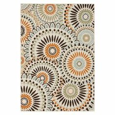Loomed indoor/outdoor rug with an overlapping medallion motif. Made in Turkey.   Product: RugConstruction Material: PolypropyleneColor: Cream, orange, brown and chocolateFeatures:  Suitable for indoor and outdoor usePower loomedMade in Turkey Note: Please be aware that actual colors may vary from those shown on your screen. Accent rugs may also not show the entire pattern that the corresponding area rugs have.Cleaning and Care: Sweep, vacuum or rinse off with a garden hose