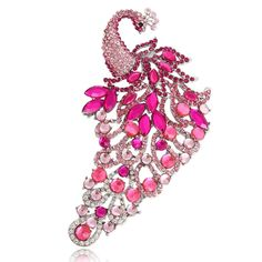 EVER FAITH® Peacock Pink Austrian Crystal Brooch Silver-tone N00724-4 >>> Read more details by clicking on the image.