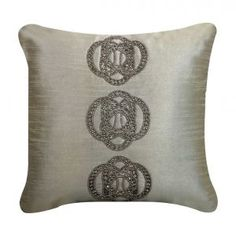 Eastern Collection Beaded Stone Cushion in Silver