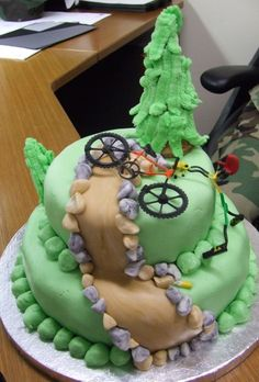 Instead of the bike I'll have a fondant goat on top of the mountain!