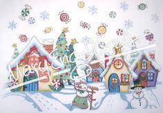 Needlepoint Canvas: Snowman Village