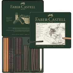 Faber-Castell PITT Charcoal set tin of 24 - A range of natural drawing charcoal sticks and pencils as well as charcoal in stick and pencil form in a range of degree of hardness A paper wiper (blender) and kneadable eraser are also included. The practical set for those who prefer to work in charcoal.