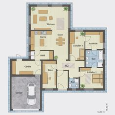 floor plan bungalow 130 with garage - Haus - Garage Floor Plans, House Floor Plans, House Blueprints, Architecture Drawing Plan, Architecture Design, Dream House Drawing, Garage Studio, Apartment Floor Plans, Cool Apartments