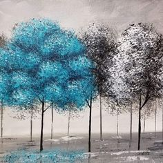 Pop of Color Black and White Trees Acrylic Painting Tutorial Video by Angela Anderson #angelafineart #blackandwhite #acrylicpainting #art