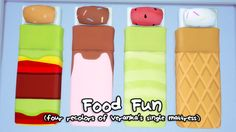 I recolored Veranka's amazing single mattress (which can be used with any bedframe!) to look like cute, cartoony food. Bless the phone wallpapers I used for this. But most importantly, bless Veranka's single mattress mesh. Sims 4 Piercings, Sims 4 Beds, Sims 4 Bedroom, Bedrooms, Sims 4 Traits, Kids Mattress, Sims 4 Cc Kids Clothing, Sims 4 Toddler, Play Sims