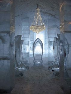 iced throne | How fantastic is this! Main hall in ICEHOTEL Jukkasjärvi, Sweden ...