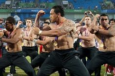 New Zeeland rugby players perform the haka after the winning gold medal.