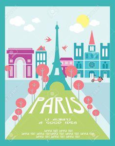 19252242-Paris-card-design-vector-illustration-Stock-Vector-paris-france-french.jpg (1028×1300)
