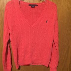 Ralph Lauren sport vneck cable knit sweater coral Excellent condition! 100% cotton. XL but due to slight shrinking, fits like a Large. ☀️open to trades Ralph Lauren Sweaters