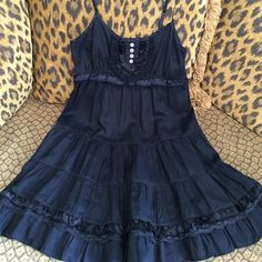 Free People Navy Slip Dress Free People navy slip dress by Connection was only worn once and is in great condition! Straps are adjustable, there is slight fraying to straps, but is not really noticeable. Free People Dresses