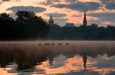 Sunrise Over St. Mary's Lake, University of Notre Dame.