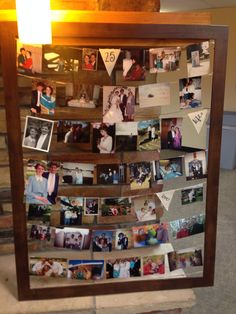 A timeline photo frame with pictures of 25 years of marriage. All the milestones like children, grand kids, weddings, etc. 25th anniversary idea.
