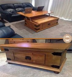 Coffee table trunk w fold out laptop table