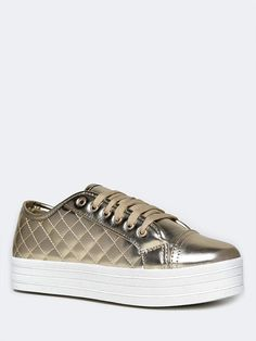 - Street goes glam with these trendy metallic sneakers! - Quilted sneakers have a platform and traditional lacing up the front and a round toe for maximum comfort. - Non-skid sole and cushioned footbe