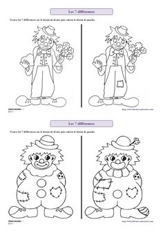 Librairie-Interactive - K 7 rozdíly karneval Clown Crafts, Carnival Crafts, Circus Theme, Circus Party, Coloring For Kids, Coloring Pages, Preschool Circus, Theme Carnaval, Le Clown