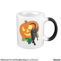 Halloween Cat and Pumpkin Mug