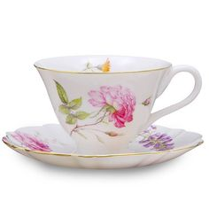 8 oz Cup and Saucer Set, Dahlia. Ribbon Gift Pack. Fine Porcelain. 24K Gold Trimmed