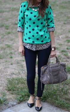 Weekend Style  |  polka dot sweater, leopard button-up shirt, dark jeans, black flats with ankle straps