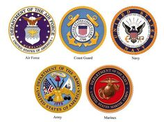 Symbols Of The Five American Military Services Air Force Army