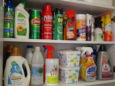 Did you know that a baby wipes container is the PERFECT size for dryer sheets? And helps keep them fresh longer too. Get more tips to organize your cleaning products