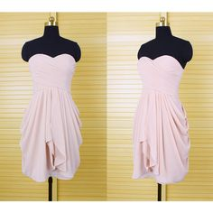 Simple Light Pink Bridesmaid Dresses ($89) ❤ liked on Polyvore featuring dresses, silver, women's clothing, short prom dresses, light pink prom dresses, prom dresses, cocktail prom dress and short dresses