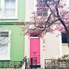 Pink door in Notting Hill.